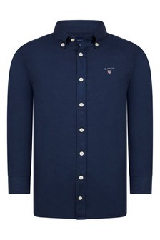 Boys Navy Cotton Twill Shirt