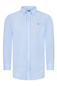 Boys Blue Cotton Archive Oxford Shirt