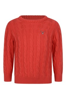 Boys Red Cotton Cable Sweater