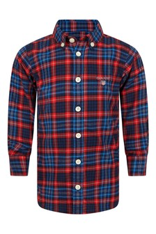 Boys Red & Blue Tartan Cotton Shirt
