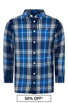 Boys Indigo Check Cotton Shirt