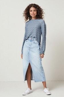 Blue Ditsy Long Sleeve Shirred Top