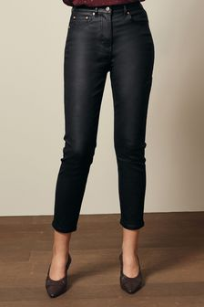 Black Coated Straight Jeans