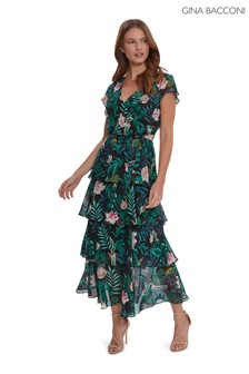 Gina Bacconi Blue Maricia Tiered Floral Dress