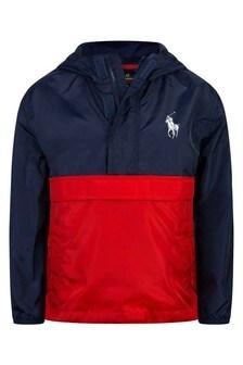 Boys Navy & Red Pullover Jacket