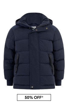 Boys Navy Down Padded Goggle Jacket