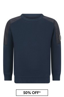 Boys Navy Cotton Crew Neck Sweater