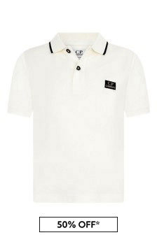 Boys Ivory Cotton Pique Polo Top