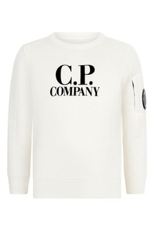 Boys Ivory Cotton Crew Neck Sweater