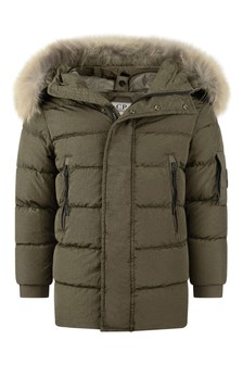 Boys Green Down Padded Long Jacket With Fur