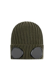 Boys Green Merino Wool Goggle Hat