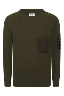 Boys Olive Green Fine Merino Wool Jumper