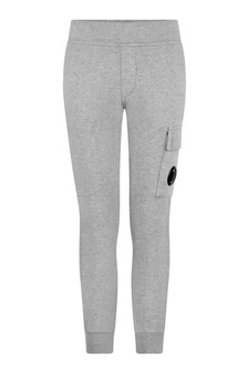 Boys Grey Melange Cotton Joggers