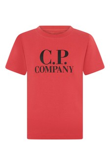 Boys Red Cotton Logo Print T-Shirt