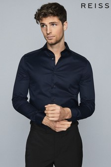 Reiss Navy Storm Two Fold Cutaway Collar Slim Fit Shirt