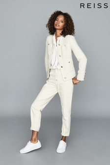 Reiss White June Short Bouclé Jacket