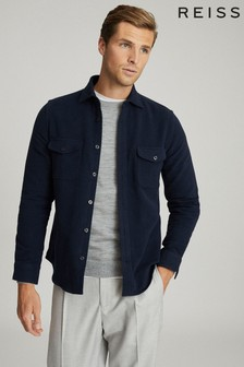 Reiss Navy Miami Twin Pocket Overshirt