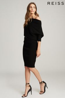 Reiss Black Lara Off The Shoulder Knitted Dress