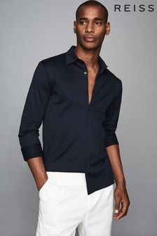Reiss Navy Chapter Mercerised Cotton Shirt