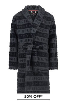 Boys Navy Organic Cotton Jacquard Bathrobe