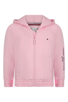 Girls Pink Organic Cotton Zip-Up Top