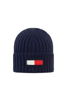 Kids Navy Cotton & Wool Flag Beanie Hat