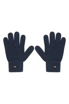 Kids Navy Organic Cotton Flag Knit Gloves
