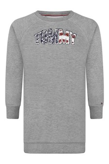 Girls Grey Cotton Americana Logo Sweater Dress