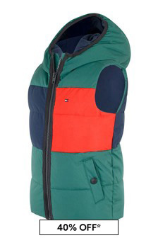 Boys Green Flag Hooded Gilet