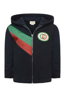 GUCCI Kids Baby Boys Grey Logo Zip Up Top