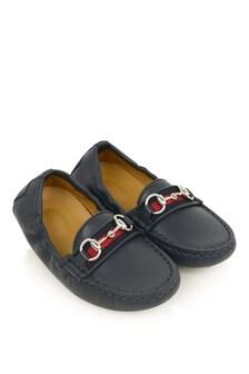 Boys Navy Leather Moccasins