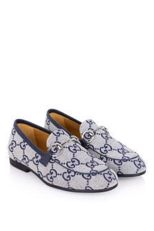 Kids Navy GG Canvas Loafers
