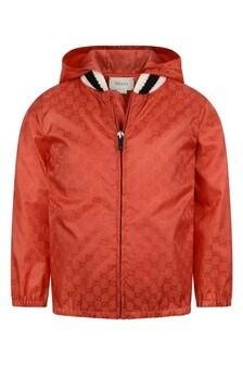 Boys Orange GG Windbreaker Jacket