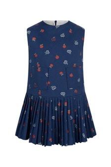 GUCCI Kids Girls Blue Cotton Apple GG Dress