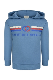 Boys Blue Cotton Hooded Sweater