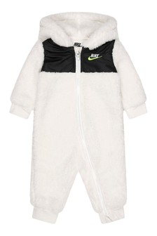 Baby Boys Cream Sherpa Hooded Babygrow