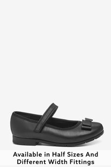 Black Wide Fit (G) Leather Bow Mary Jane Shoes