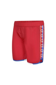 Boys Red Logo Trim Swim Shorts