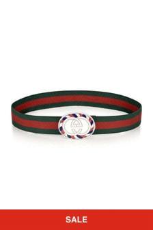 GUCCI Kids Green & Red Elasticated Belt