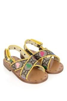 Girls Beige Supreme Canvas GG Heart Sandals