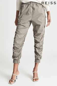 REISS Green Womens Green ESIN Cotton Blend Ruched Trousers