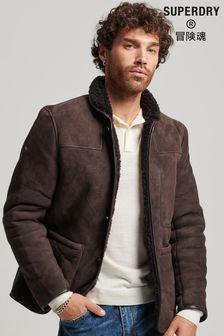 Superdry Mens Brown Shearling Deck Jacket
