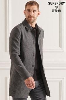 Superdry Mens Natural Studios Lightweight Wool Car Coat