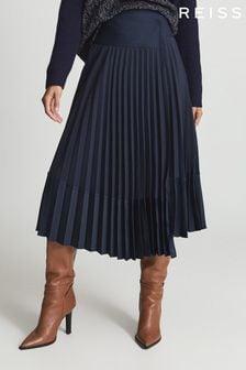 Reiss Iris Asymmetric Pleated Midi Skirt