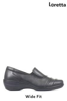 Loretta Ladies Black Wide Fit Leather Slip-On Shoes