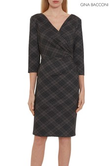 Gina Bacconi Grey Baila Check Wrap Dress