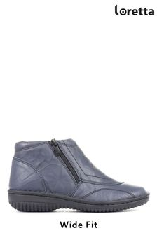 Loretta Ladies Blue Wide Fit Leather Ankle Boots