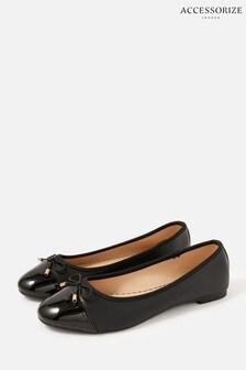 Accessorize Black Patent Toe Ballerina Flats
