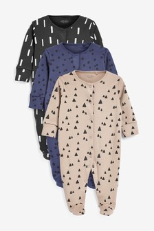 Monochrome 3 Pack Multi Print Sleepsuits (0mths-2yrs)