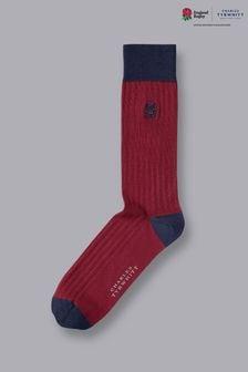 Charles Tyrwhitt Red England Rugby RFU Cotton Rib Socks